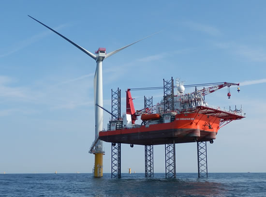 The GMS Endeavour installing the first turbine