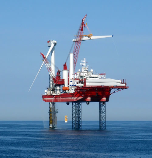 The 76m turbine installation vessel Seajacks Leviathan joins the Sheringham Shoal Offshore Wind Farm.