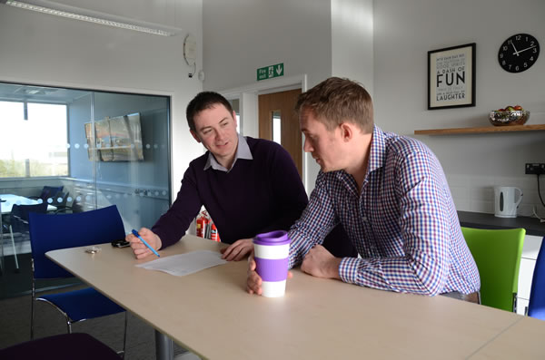 Electrical Engineer Richard Nunn (left) and HSE Manager Adam Blake in the coffee area of the Scira Team's new offices