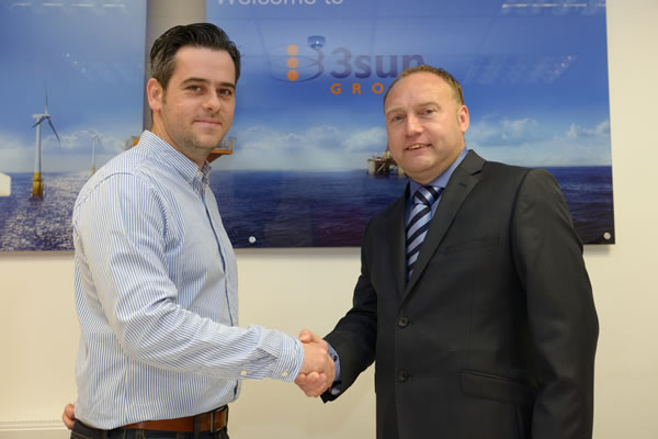 Scira's Colin Galer with 3sun's Group Managing Director Graham Hacon at the recent opening of 3sun's new facility in Great Yarmouth.