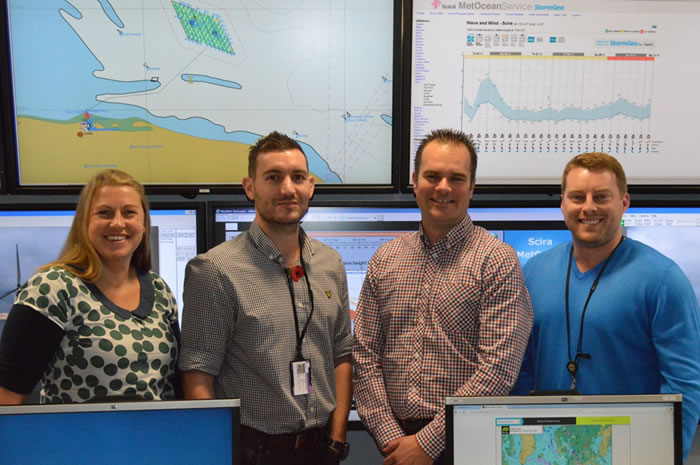 Rebecca Callister, Karl Butler, Russell Hill and Ross McMillan in the Marine Coordination Centre at Wind Farm Place, the operating base for Sheringham Shoal