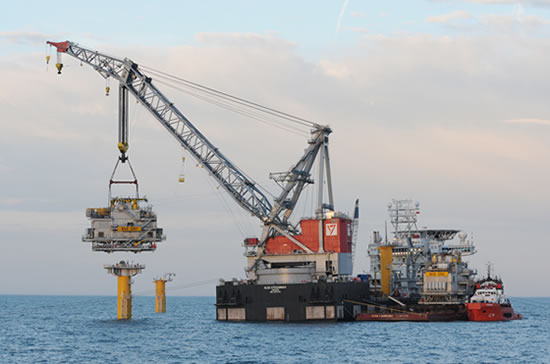 Sheringham Shoal offshore substations in place