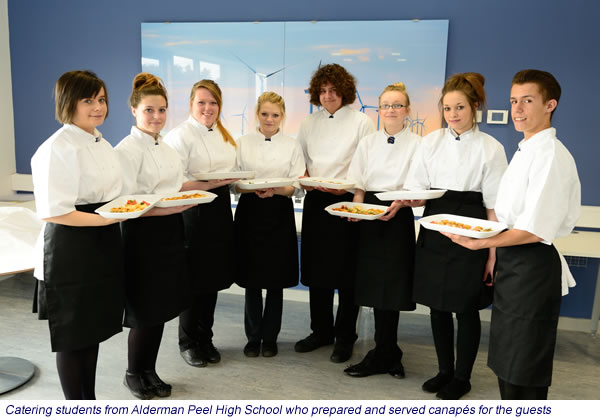 Catering students from Alderman Peel High School who prepared and served canapés for the guests