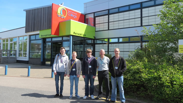 Students from Great Yarmouth College BTEC Engineering Programme. From left to right students Harvey Brown, Ryan Smith, Liam Houston and  Tony Lloyd with their tutor Sean Robson.