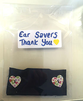 Ear savers - to protect NHS staff's ears as they wear masks - made by Charlotte 